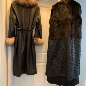 Fox collar and Cuff Brown Leather full length Coat
